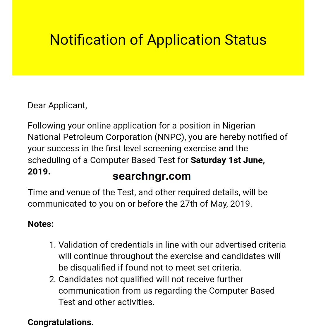 We are pleased to inform you that the NNPC shortlisted names have been released and candidates are now receiving mail from NNPC via their email address.