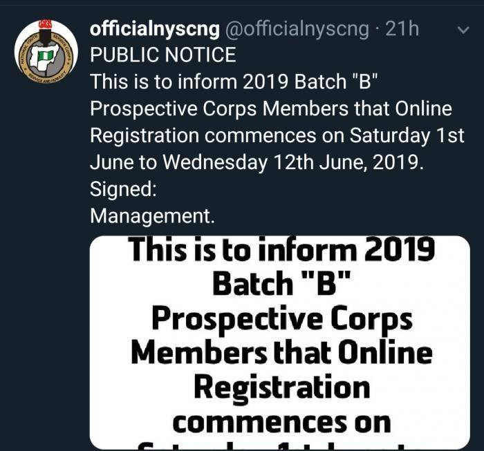 The National Youths Service Corps (NYSC) has announced that the 2019 Batch B registration has been officially postponed to Saturday 1st June to Wednesday 12th June 2019.