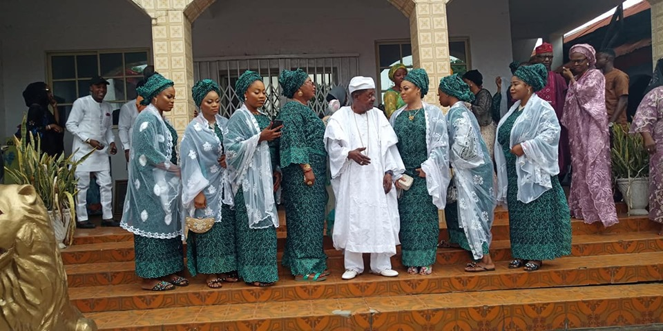 Alaafin of Oyo Pictured With His Wives 1