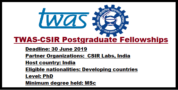 Apply For TWAS-SN Bose Postgraduate Fellowship Programme, 2019/2020 Session 1