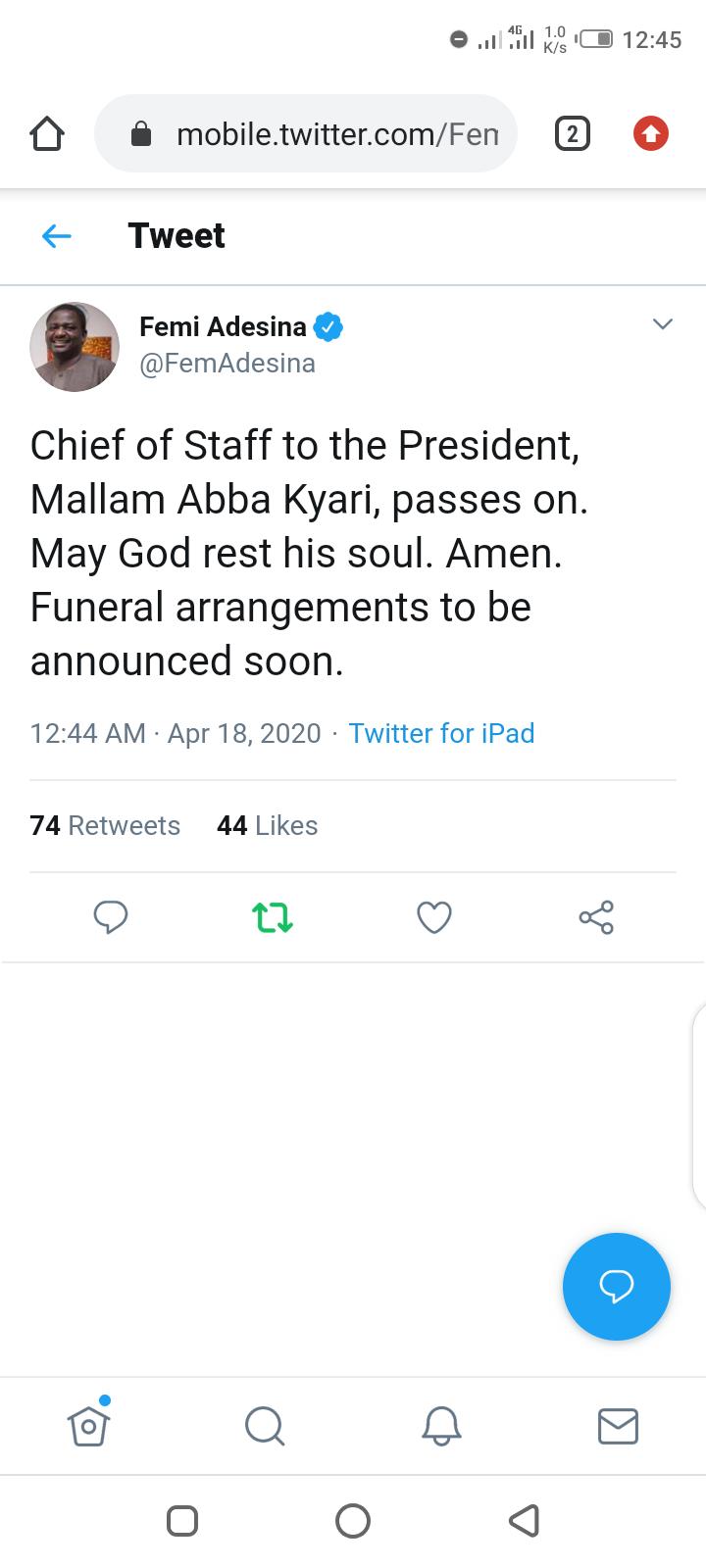 Chief of Staff to the President, Abba Kyari