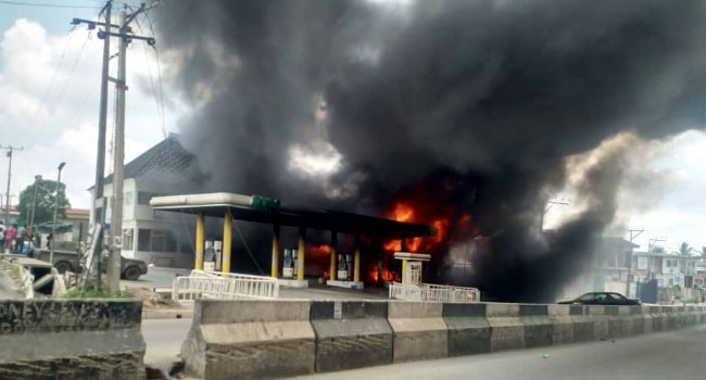 NNPC Filling Station Guts Fire at Ogba, Lagos