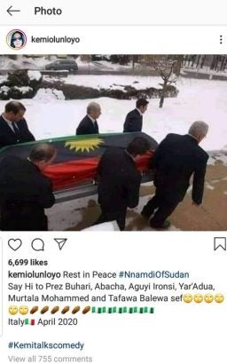 Breaking: Nnamdi Kanu is dead – Kemi Olunloyo claims