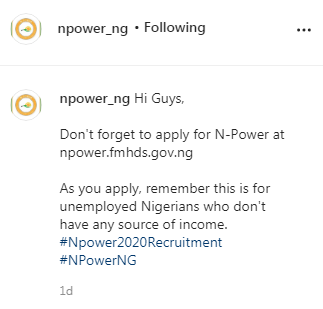 Npower 2020: If you Entered this information, you will not be shortlisted