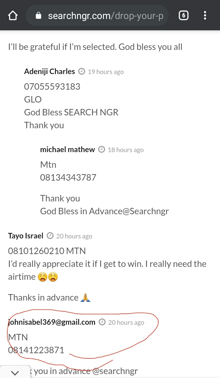 Friday Winners have been selected for FREE Airtime (Congratulations) 3