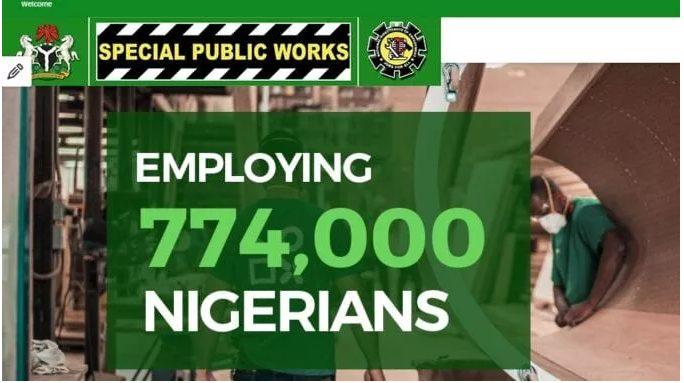 774,000 Recruitment Begins, Special Public Works Registration Portal 2020 – go to www.specialpublicworks.gov.ng