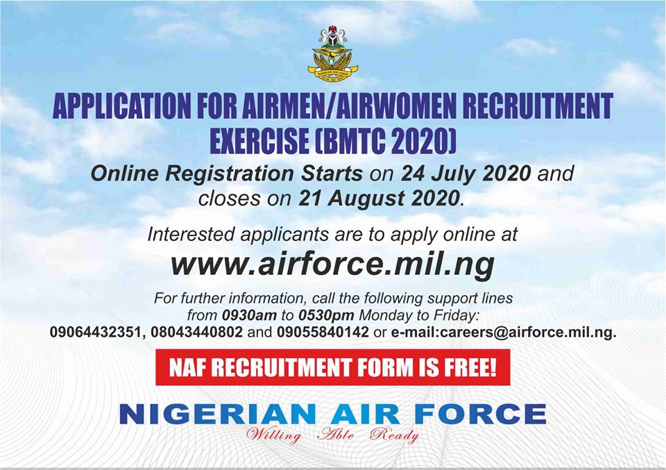 Nigerian Airforce Recruitment 2020 Begins (Application Portal www.airforce.mil.ng)