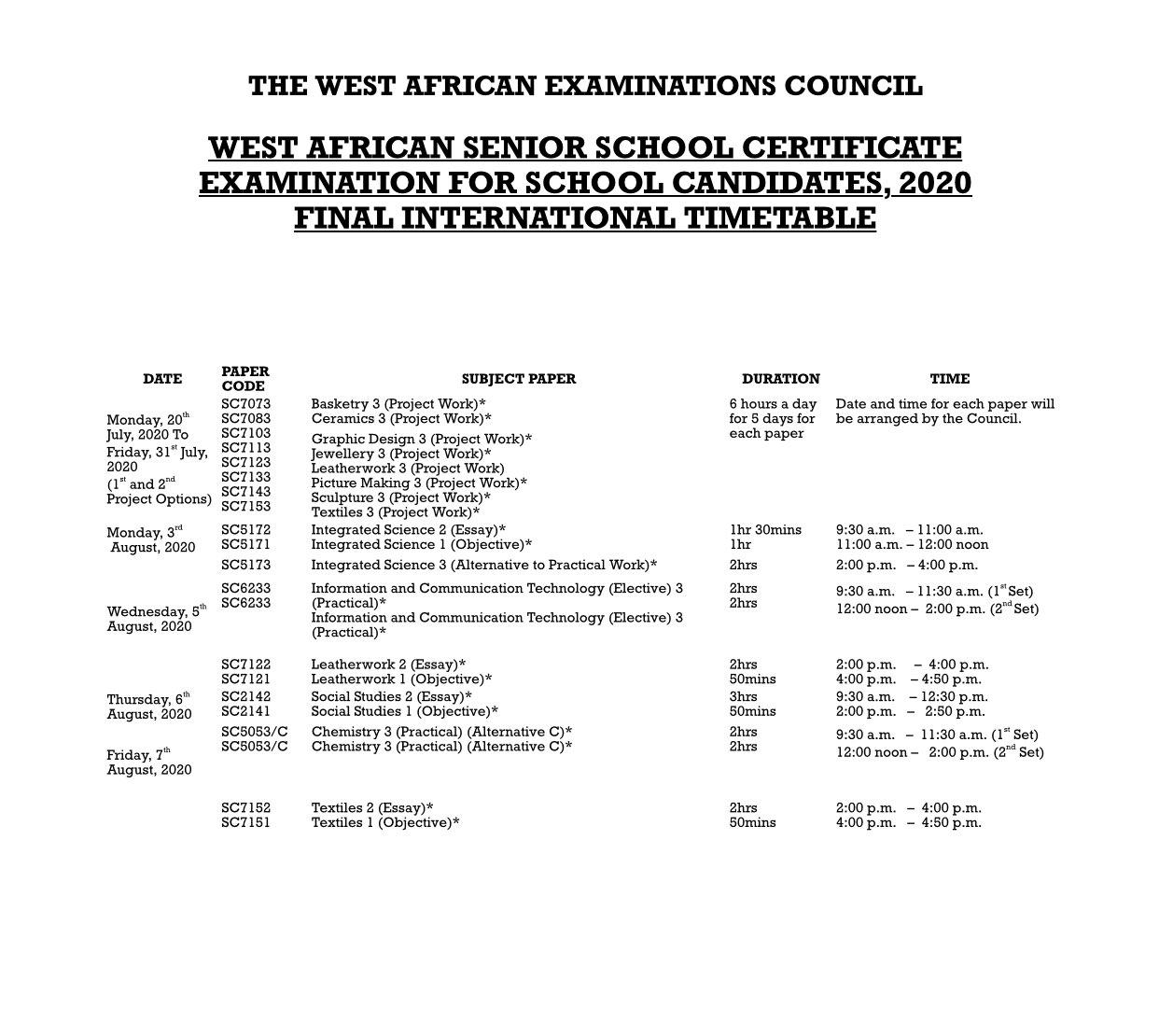 WAEC 2020 Timetable PDF