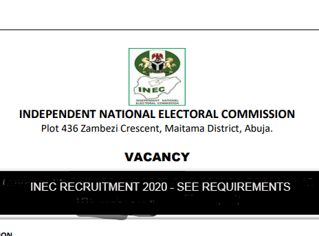 Breaking: INEC Recruitment 2020: See Available Position to Apply
