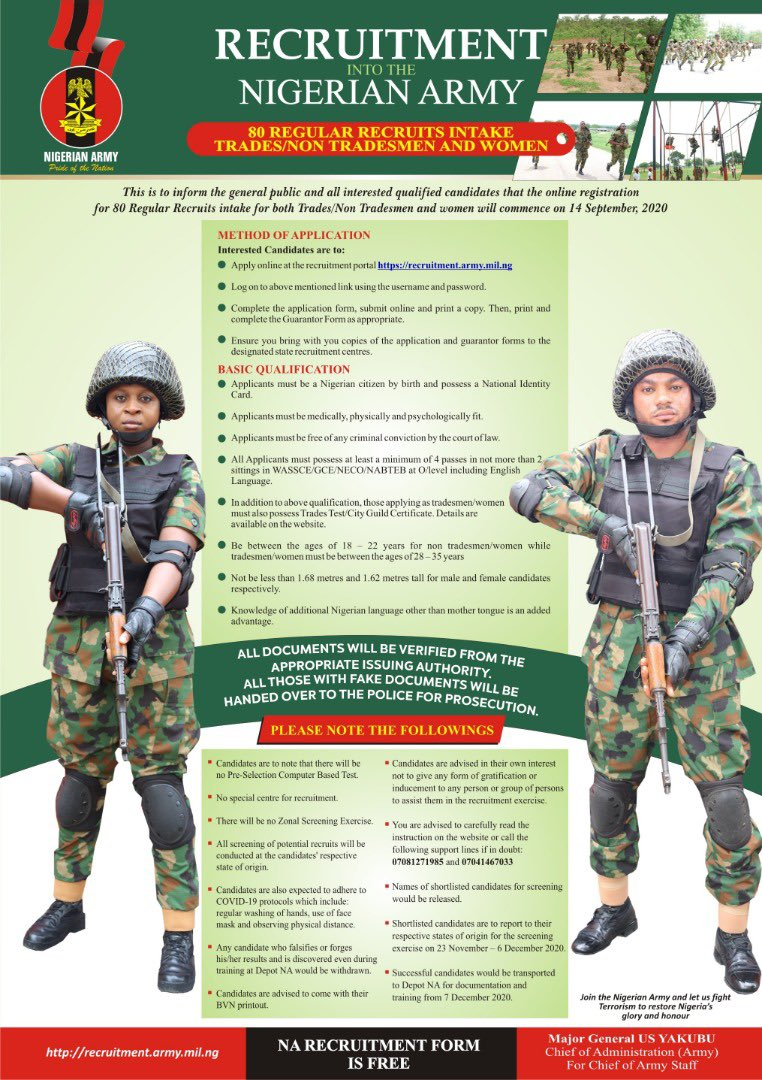 Nigerian Army Recruitment 80rri 2020