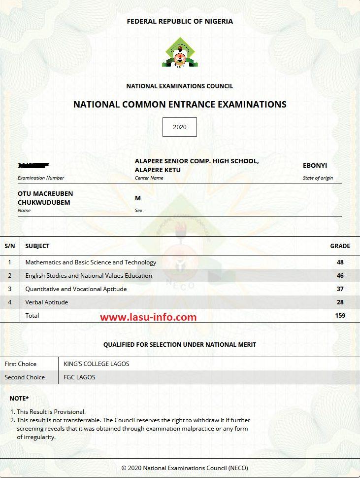 NECO NCEE: Common Entrance Result Checker 2020/2021 (Photo) 6