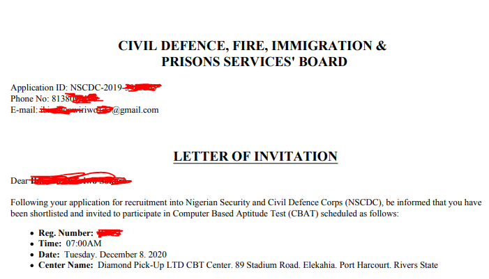 NSCDC (Civil Defence) Invitation Letter Printing Begins - See How to Print