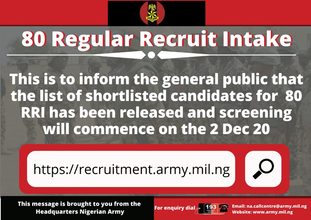 Nigerian Army 80 RRI Shortlisted Names Released (Download PDF)