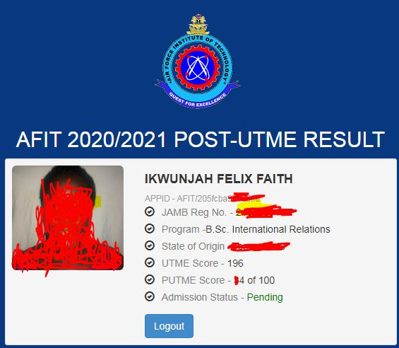 AFIT Post UTME Result 2020/2021 - Check on Afit Result Portal