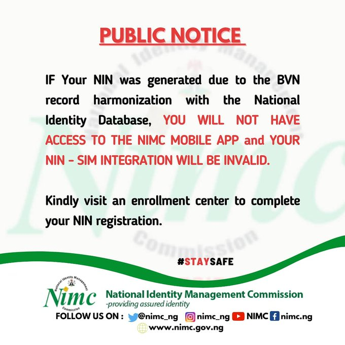 Why you can't use NIN Generated with BVN for SIM Registration and here is what you should do