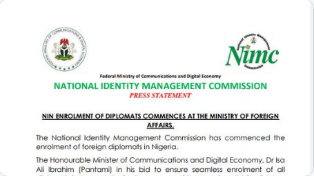NIN Enrolment of Diplomats Commences at the Ministry of Foreign Affairs