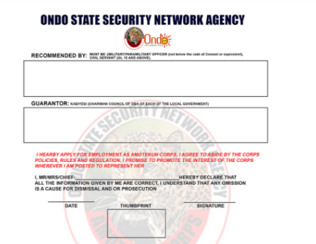Ondo State Amotekun Recruitment 2021 - How to Apply