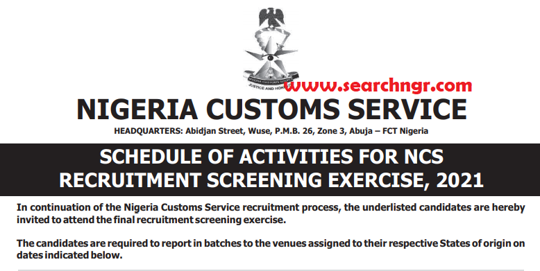 NCS Recruitment: Nigeria Customs Service Announces Date for Screening Exercise, 2021 (See Shortlisted Names PDF)