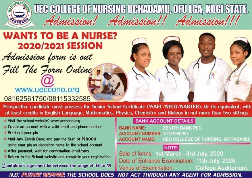 UEC College of Nursing Admission Form for 2021/2022 Academic Session 1