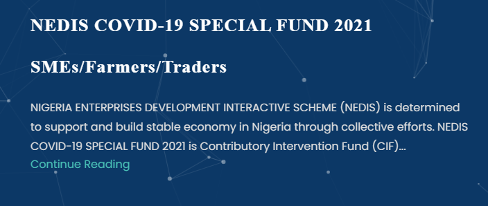 Application for NEDIS Covid-19 Special Fund for Farmers/Traders 2021