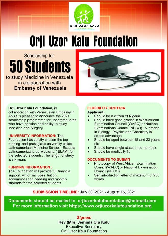 Orji Uzor Kalu Foundation Scholarship for Nigerians 2021 1