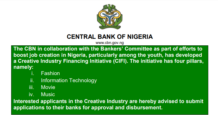 Apply for Ongoing CBN Creative Industry Loan 2021