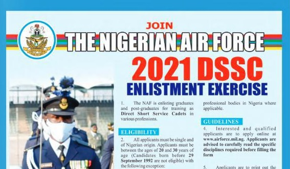Nigerian Air Force, NAF DSSC Recruitment 2021 Begins for (How to apply)