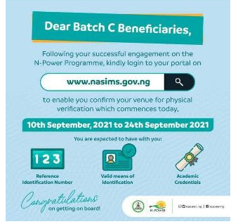 Npower Batch C Stream I Update: Closing Date for Npower Physical Verification Exercise