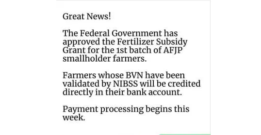 FMARD Approve Fertilizer Subsidy Grant to AFJP Farmers