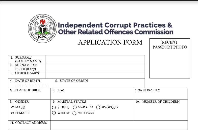 ICPC Recruitment 2021 - Log in to your email and Print your Application Form